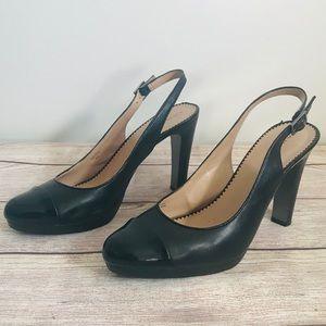 Tahari Black Platform Heels Leather sz 9